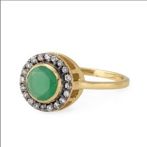 Stella & Dot Green and Gold Suzanne Ring Size 8
